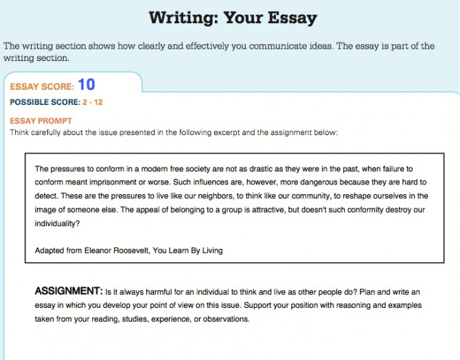 Writing score sat essay